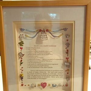 Recipe for a Happy Marriage framed artwork